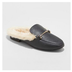 Rebe Faux Leather Fur Backless Mules - A New Day